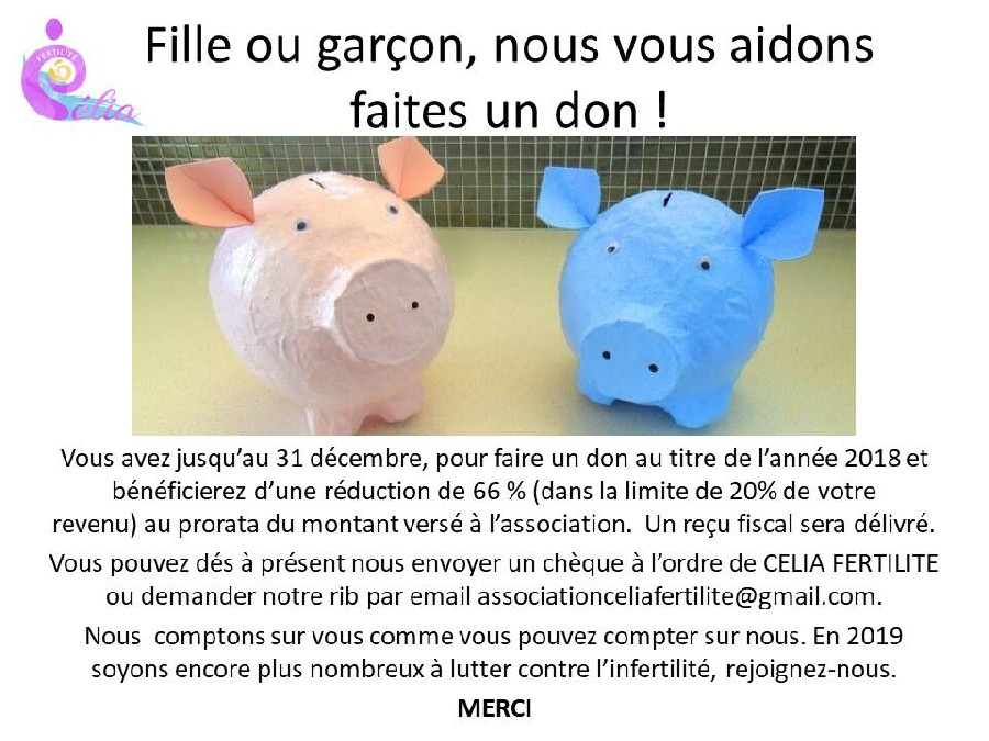 Don Association Célia Fertilité 2018